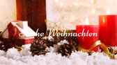 koni : Animation of the words Frohe Weihnachten written in white with Christmas decorations in the background