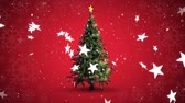 oslava : Animation of rotating Christmas tree and falling stars on red background