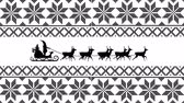 witte achtergrond : Animation of a black silhouette of Santa Claus in sleigh being pulled by reindeers on a white background with patterned borders Stockvideo