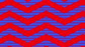 carta da pacco : Animation of red zig zag Christmas pattern with blue moving stripes in the background Filmati Stock