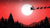 pferdeschlitten : Animation of a black silhouette of Santa Claus in sleigh being pulled by reindeers over countryside in winter at night with moon on red background
