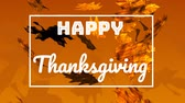 kasım : Animation of the words Happy Thanksgiving written in white letters in a white frame with falling leaves in autumn on an orange background Stok Video