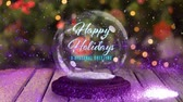 snow globe : Animation of the words Happy Holidays A Seasonal Greeting in blue letters on a snow globe, purple shooting star and Christmas tree in the background