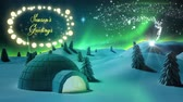 gwiazda : Animation of the words Seasons Greetings in yellow letters in an oval frame of glowing star shaped fairy lights with shooting star, igloo and winter scenery in countryaide Wideo