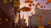 kasım : Animation of colourful leaves falling in autumn in a city