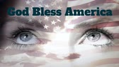 kasım : Animation of the words God Bless America Veterans Day written in blue letters with blowing American flag and close up of female face