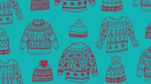 atlamacı : Animation of Christmas pattern with hats and jumpers, in blue and red