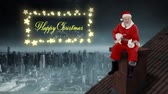 gwiazda : Animation of the words Happy Christmas in a rectangular frame of glowing star shaped fairy lights with Santa Claus playing guitar on roof Wideo