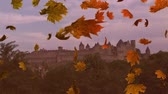 kasım : Animation of colourful leaves falling in autumn over a castle