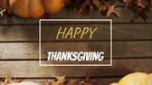 kasım : Animation of the words Happy Thanksgiving written in yellow and white letters in a white frame with pumpkins on wooden floorboards in the background Stok Video