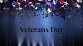 oslava : Animation of the words Veterans Day written in black letters with colourful confetti falling on a blue background