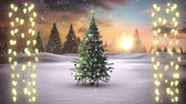 oslava : Animation of a Christmas tree and strings of glowing fairy lights with countryside in the background