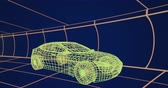 tornitura : Animation of 3d technical drawing of a car in yellow, with moving grid in the background 4k