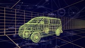 tornitura : Animation of 3d technical drawing of a van in yellow, with data processing and moving grid in the background