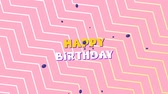 oslava : Animation of the words Happy Birthday in yellow and white letters with blue balloons with zig zag pattern on pink background Dostupné videozáznamy