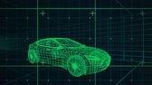 tornitura : Animation of 3d technical drawing of a car in green, with moving grid in the background