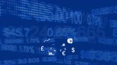 data processing : Animation of white business icons and financial data on stock exchange display board on blue background Stock Footage