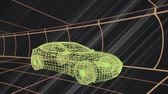 tornitura : Animation of 3d technical drawing of a car in yellow, with moving grid in the background