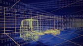 prototype : Animation of 3d technical drawing of a truck in yellow with moving grid in the background Stock Footage