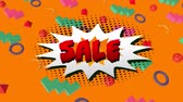 cena : Animation of the word Sale in red letters on a white explosion on an orange background