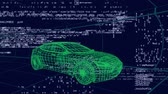 tornitura : Animation of 3d technical drawing of a car in green, with data processing and moving grid in the background