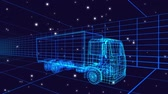 tornitura : Animation of 3d technical drawing of a truck in blue, with moving stars and grid in the background