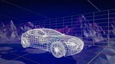 prototype : Animation of 3d technical drawing of a car in white, with moving topographic map of mountains and grid in the background