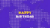 joyeux anniversaire : Animation of the words Happy Birthday in yellow and white letters with cloud of smoke on purple background Vidéos Libres De Droits