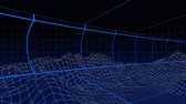 topografia : Animation of moving blue grid lines with topographic map of mountains on dark blue background