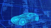 tornitura : Animation of 3d technical drawing of a car in blue, with data processing and moving grid in the background