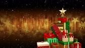 falling stars : Animation of snowflakes falling with Christmas presents and shimmering background