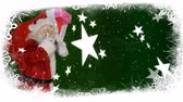 falling stars : Animation of snowflakes falling and Santa Claus on green background