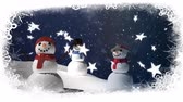 falling stars : Animation of three snowmen, snow, stars and snowflakes falling on blue background