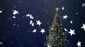 geest : Animation of snowflakes and stars falling with Christmas trees on blue background