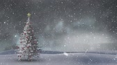 csecsebecse : Animation of winter scenery with snow falling and Christmas tree in the background