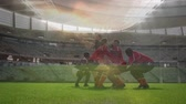 campo da rugby : Animation of a team of rugby players celebrating victory on the pitch at a stadium Filmati Stock