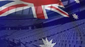 예기 : Animation of Australian flag waving over a sport stadium