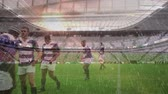 ラグビー : Animation of rugby players starting a game at stadium with rain falling in the foreground