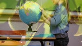 ответственность : Animation of schoolgirl spinning globe at school with trees in the foreground