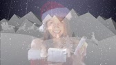rena : Animation of a white silhouette of Santa Claus in sleigh being pulled by reindeers with smiling woman in Santa hat and the words Merry Christmas on blue background