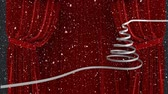 kurtyna : Animation of Christmas tree drawn in a white line with snowfall and red curtains in the background