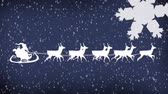 ren geyiği : Animation of a white silhouette of Santa Claus in sleigh being pulled by reindeers with snow falling on blue background