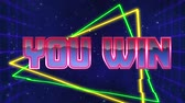 uithang bord : Animation of the words You Win written in red capital letters filled with lilac and white on green and yellow triangles over a moving purple grid with a dark blue starry night sky background