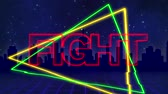 szyld : Animation of the word Fight written in red capital letters on green and yellow triangles over a moving purple grid with a silhouetted cityscape and dark blue starry night sky background