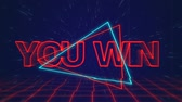 uithang bord : Animation of the words You Win written in red capital letters on blue and red triangles over a moving red grid with a dark blue starry night sky background Stockvideo