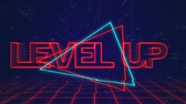 szyld : Animation of the words Level Up written in red capital letters on blue and red triangles over a moving red grid with a dark blue starry night sky background