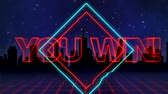 szyld : Animation of the words You Win! written in red capital letters on blue and red diamond shapes over a moving red grid with a silhouetted cityscape and dark blue starry night sky background
