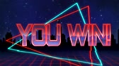 uithang bord : Animation of the words You Win! written in red capital letters filled with lilac and orange on blue and red traingles over a moving red grid with a silhouetted cityscape and dark blue starry night sky background