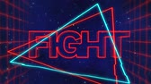 szyld : Animation of the word Fight written in red capital letters on blue and red triangles over a moving red grid with a dark blue starry night sky background Wideo