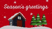 pixel : Animation of the words Seasons Greetings with snow falling and winter scenery on red pixelated background. Festive christmas concept.